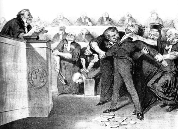 0000, 1835, Daumier, 'Morquillas en los juzgados nazinalistas', vous avez la parole, expliquez-vous, vous etes libre