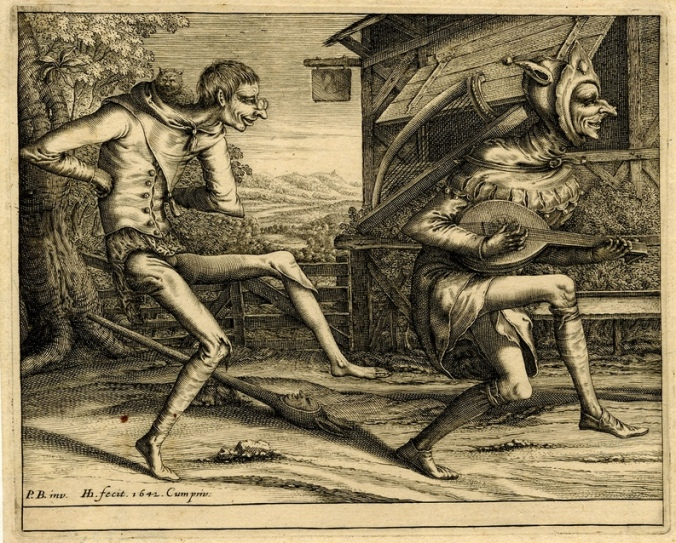 Two fools of Carnival_Engraving made by Hendrik Hondius I After Pieter Bruegel the Elder,Dutch, 1642