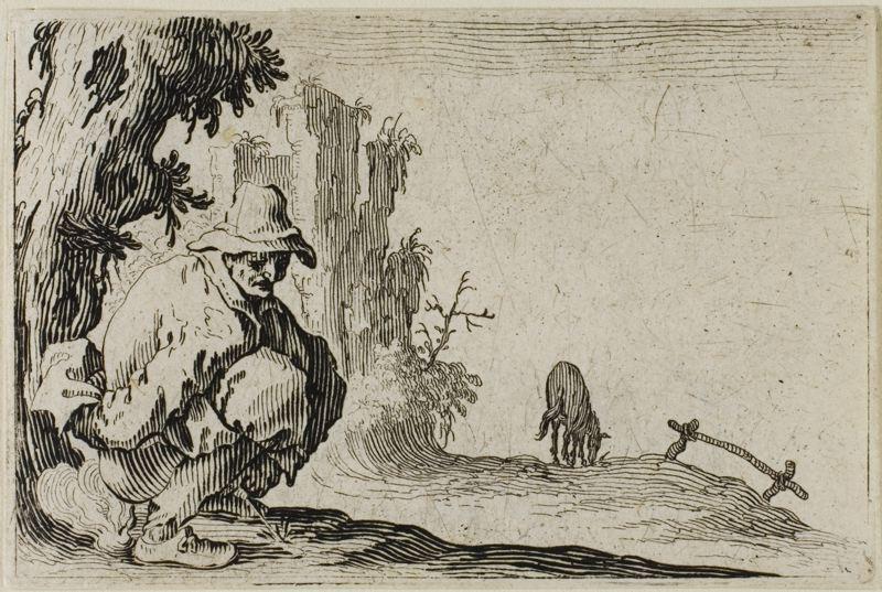 89 JACQUES CALLOT (1592-1635) Peasant Squatting 1617 m